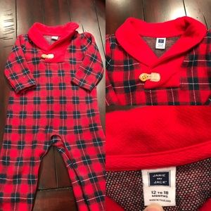 EUC Janie and Jack Red Tartan Plaid One Piece